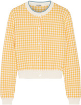 Miu Miu Cropped Houndstooth Cotton Cardigan - Mustard