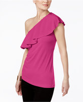 INC International Concepts Ruffled One-Shoulder Top, Created for Macy's