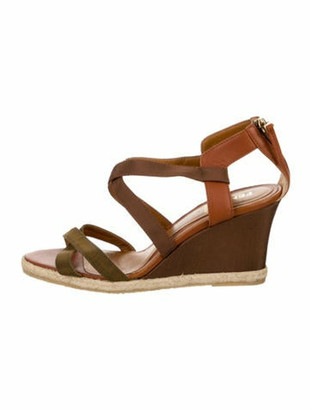 Fendi Crossover Wedge Sandals Brown