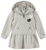 Karl Lagerfeld Grey Hooded Sweater Dress