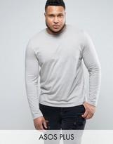 Asos PLUS Long Sleeve T-Shirt In Gray Marl