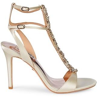 Badgley Mischka Hollow Embellished Metallic High-Heel Sandals
