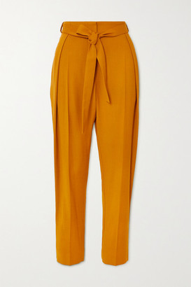 Roksanda Goya Belted Twill Tapered Pants - Orange