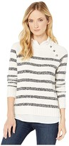 Lauren Ralph Lauren Layered Cotton-Blend Sweater (Mascarpone Cream/Polo Black Marl) Women's Clothing