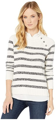 Lauren Ralph Lauren Layered Cotton-Blend Sweater (Mascarpone Cream/Polo Black Marl) Women's Clothing