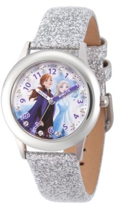 Disney Frozen 2 Elsa,Anna Girls' Stainless Steel Glitz Watch, 1-Pack