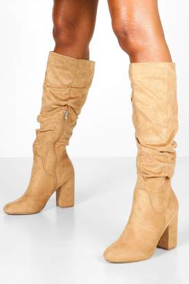 boohoo Rouched Knee High Boots