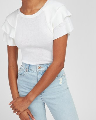 Express Tiered Ruffle Short Sleeve Sweater