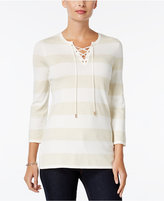 Charter Club Petite Striped Lace-Up Sweater, Only at Macy's