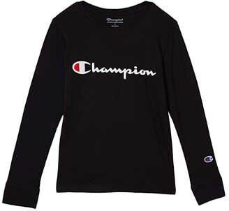 Champion Kids Long Sleeve Signature Script Graphic Tee (Big Kids) (Black) Boy's Clothing