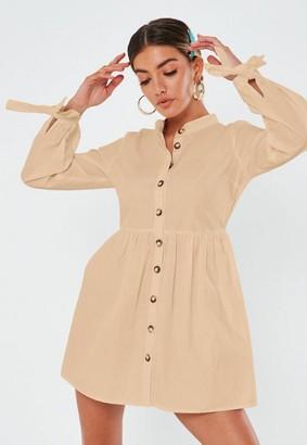 Missguided Stone Poplin Tie Cuff Shirt Dress