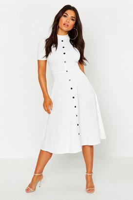 boohoo High Neck Button Detail Skater Dress