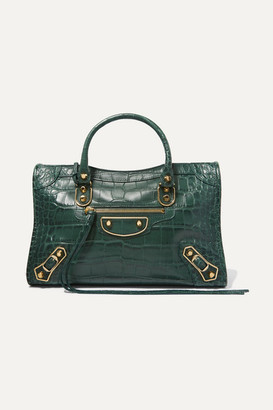 Balenciaga Classic City Small Croc-effect Leather Tote - Army green