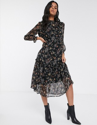 Vero Moda high neck floral midi dress-Black