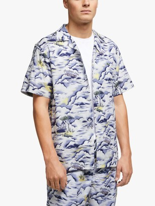 Lacoste Southern France Print Cotton Hawaiian Fit Shirt, Blue/Light Pink/White