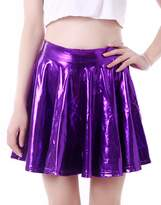 HDE Women's Shiny Liquid Metallic Wet Look Fla Pleated Skater Skirt