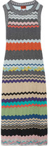 Missoni Metallic Crochet-knit Midi Dress - Silver