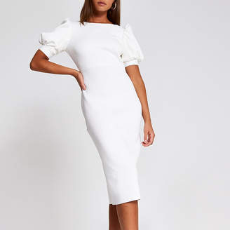 River Island White short puff sleeve midi bodycon dress