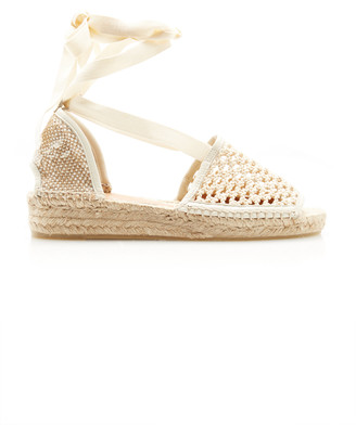 Castaner Lace-Up Crochet Espadrille Sandals