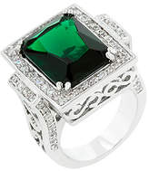 Kate Bissett Emerald Cubic Zirconia & Silvertone Cocktail Ring
