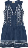 Sea Crochet-trimmed embroidered silk and linen-blend mini dress