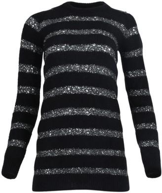Saint Laurent Black And Silver Sequin Striped Mini Dress