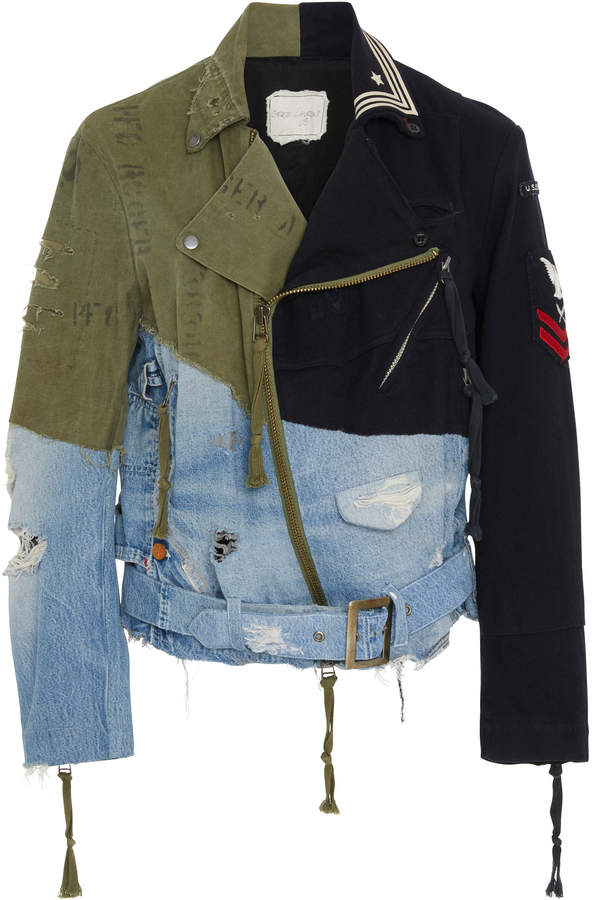 Greg Lauren Brando Patchwork-Effect Denim Wool-Felt And Twill Motorcycle Jacket