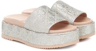 Gucci GG metallic jacquard platform sandals