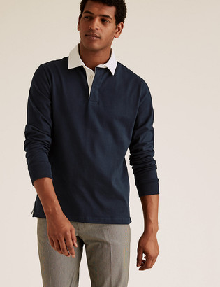 Marks and Spencer Pure Cotton Long Sleeve Rugby Top