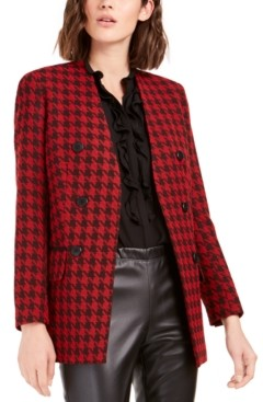 Bar III Houndstooth Collarless Double-Breasted Jacket, Created For Macy's