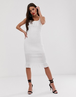 Finders Keepers Dolly bodycon midi dress-Cream