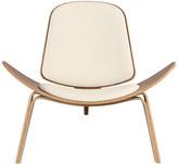Kardiel Tripod Plywood Modern Lounge Chair, Cream Italian Leather/Waln