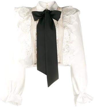 Self-Portrait ruffled lace bow detail blouse