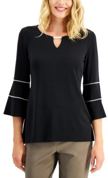 JM Collection Petite Bell-Sleeve Keyhole Top, Created for Macy's
