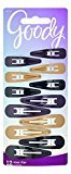 Goody Snap Hair Clips, Assorted Colors, 12-count