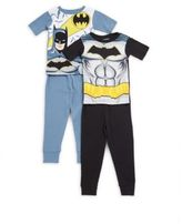 AME Sleepwear Little Boy's & Boy's Four-Piece Batman-Print Tee & Pants Pajama Set