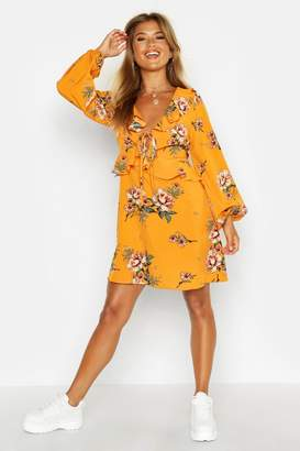 boohoo Floral Print Frill Detail Smock Dress