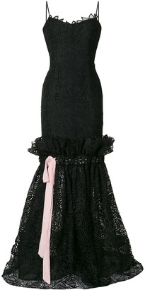 Carolina Herrera Ribbon Lace Dress