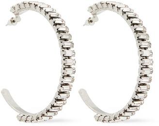 Elizabeth Cole Silver-tone Crystal Hoop Earrings