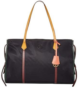 Tory Burch Perry Nylon Tote (Black) Handbags