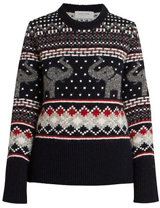 Thom Browne Seasonal Icon Elephant Fair Isle Tweed Wool & Mohair Knit Sweater