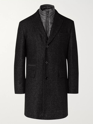 HUGO BOSS Nido Slim-fit Virgin Wool-blend Boucle Coat With Detachable Quilted Shell Gilet - Gray
