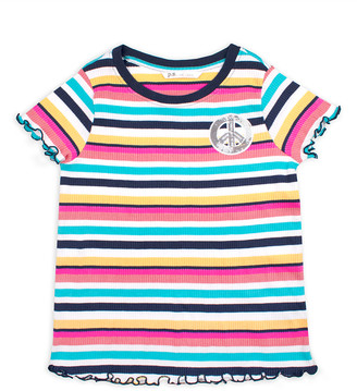 Aeropostale p.s. from Girls' Tee Shirts NAVY - Navy & Pink Stripe Sequin Peace Sign Tee - Girls