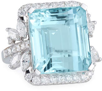 Alexander Laut 18k White Gold Aquamarine & Diamond Ring, Size 6.25