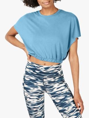 Sweaty Betty Peaceful Split Cropped T-Shirt, Stellar Blue