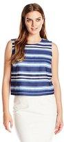 Vince Camuto Women's S/L Back Zip Indigo Multi Stripe Shell
