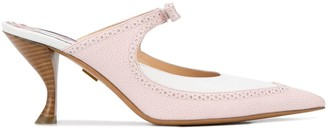 Thom Browne Brogued Bow Pumps With 75mm Curved Heel In Soft Calf