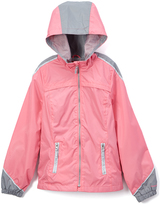 London Fog Coral & Gray Rain Coat - Girls