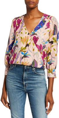 Tanya Taylor Gylda Leaf-Print Surplice 3/4-Sleeve Silk Blouse