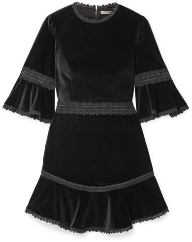 Alice + Olivia Alice Olivia - Doloris Fluted Lace-trimmed Velvet Mini Dress - Black